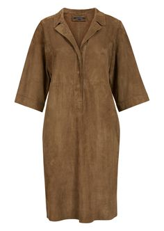 Brown leather dress with a Kent collar made from soft suede. #marcopolo #followyournature #dress #suede #leather #70s