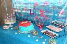 #Little Mermaid, @BabiesandBees, #Mural, #Kids Birthday, #Dessert Table