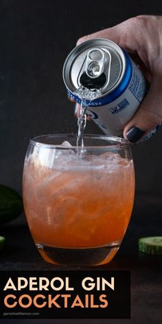 Looking for an uber refreshing cocktail? This Aperol Gin Cocktail filled with cucumber and lime is what your next happy hour needs! Gin Martini Recipe, Batch Cocktail Recipe, Gin Cocktail Recipes, Prosecco Cocktails, Cocktail Drinks, Fruity Drinks, Refreshing Cocktails, Fun Cocktails, Fun Drinks