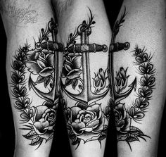Old school anchor and roses custom tattoo