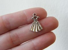 12 Dress charms 12.5 x 19mm antique silver tone by nicoledebruin, $2.50