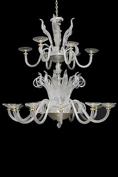 Vintage Italian Spectacular 2-Tier Murano Glass 18 Arm by Fratelli Toso
