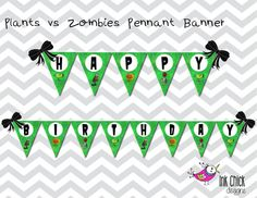 Plants vs Zombies Pennant Banner  Printable by InkChickDesigns, $5.00