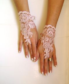 Soft pale pink Wedding gloves lace gloves free ship by GlovesWorld, $25.00
