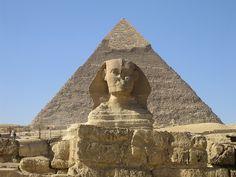 EGIPT: Wielki Sfinks z Gizie   (Chefren, kwarcyt)