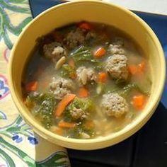 Soupe italienne aux boulettes de viande et au Parmesan