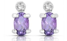 Oval Amethyst Earrings with Diamond Accents in Sterling Silver .8CT $425 Value