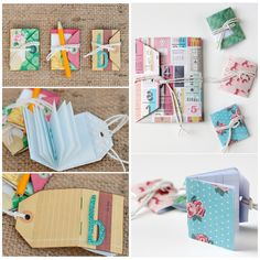 truebluemeandyou:DIY Tag Miniature Books Tutorials. What can you make from tags? Miniature books, journals, to do list books etc… Left Side Photos: DIY Tag Books Tutorial from Crate Paper. Right Side Photos: DIY Tag Books of All Sizes from Gathering Beauty.