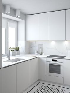 All white kitchen inspiration, with fingerpull doors and drawers - Found on Pinterest