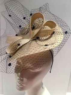 Ivory Fascinator Birdcage veil Fascinator l Off white