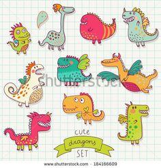 Funny cartoon dragon set in vector. Bright fantastic characters - stock vector