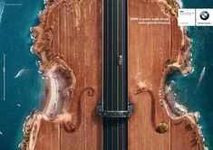 Beautifully Designed BMW Ads Show Aerial View Of Roads That Look Like Guitars & Violins