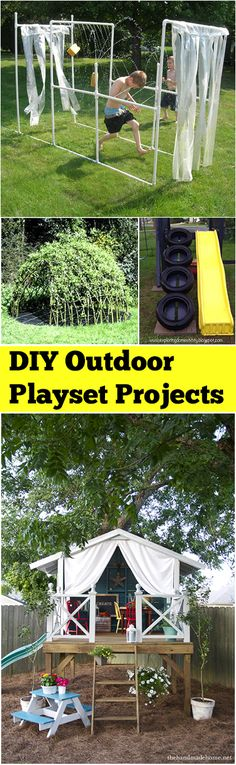 Outdoor Playset Ideas for Your Backyard. Fun, creative ideas for playset for your playgrounds.