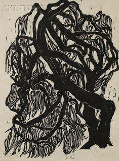 Naoko Matsubara, Willow, woodcut