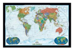 Framed National Geographic world map
