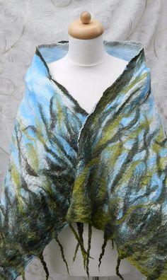 Summer Scarf Green Shawl Wrap Silk and Wool by Pennyjanedesigns