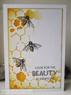 Magenta stencil and bee stamp