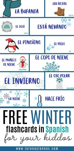 Free Winter Flashcards in Spanish for Your Kiddos