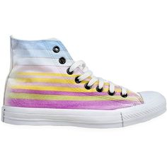 CONVERSE Limit.Ed Logo Stripe All Star Sneakers - Multi (£115) ❤ liked on Polyvore featuring shoes, sneakers, converse, scarpe, multi, converse sneakers, star shoes, converse shoes, star sneakers and striped shoes