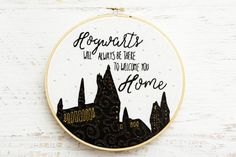 Show off your Harry Potter style with this magical Hogwarts is Home Embroidery Hoop Art. This is a great beginner project that anyone can do! Embroidery Hoop Art, Cross Stitch Embroidery, Embroidery Patterns, Stitching Patterns, Harry Potter Cross Stitch Pattern, Harry Potter Christmas Tree, Harry Potter Nursery, Punch Needle Patterns, Modern Cross Stitch Patterns