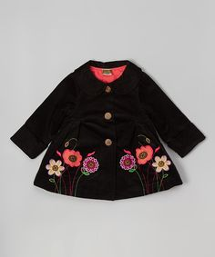 Black Flower Appliqué Corduroy Swing Coat - Toddler & Girls