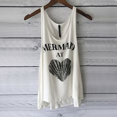 Mermaid at Heart Tank Top - Mermaid Shirt with Seashell. White with Black Print Tank, S, M, L $19.95 USD