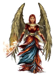 Female Winged Aasimar Cleric of Sarenrae - Pathfinder PFRPG DND D&D d20 fantasy