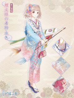 Anime Kimono, Anime Dress, Manga Anime, Character Outfits, Character Art, Character Design, Anime Girl Pink, Samurai, Nikki Love