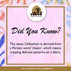 Originating in Persia, Chikankari is derived from the word 'chakin' which literally translates into 'creating delicate patterns on a fabric.' #Ada #Adachikan #Chikankari #Handmade #Handembroidery #AdaDesignerChikanStudio #OnlineShopping #LucknowiChikankari #PersianCraft #LucknowChikan #ChikankariEmbroidery #DidYouKnow #QuickFacts #OriginateStory #AdaChikankari