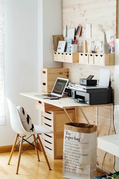 Organize all your stuff with mini shelves and drawers where you can put some important paperwork or the things you usually lose. A wooden theme would be refreshing to the eyes and can help you relax while you work.