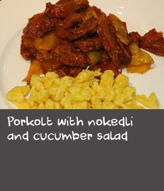 Porkolt with nokedli and cucumber salad Recipes With Pork Chunks, Quick Pasta Recipes, Beef Steak Recipes, Beer Recipes, Homemade Beer, Homemade Pasta, Cucumber Recipes, Cucumber Salad, Veal Stew