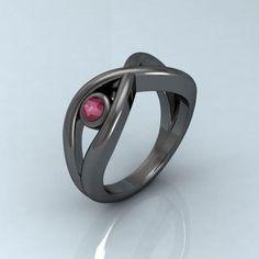 Anillo infinito de plata rodiada en negro con rubi