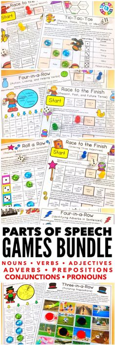 """The bundle has everything I could ever want when it comes to practicing parts of speech. They are beautiful quality, well designed, and very effective."" This Parts of Speech Games Bundle contains over 90 games to help students practice nouns, verbs, adjectives, adverbs, pronouns, prepositions, and conjunctions!"