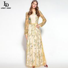 Vintage Maxi Dress Women's Long Sleeve Runway Brand Retro Printed Long Dress Like if you remember www.storeglum.com... #shop #beauty #Woman's fashion #Products