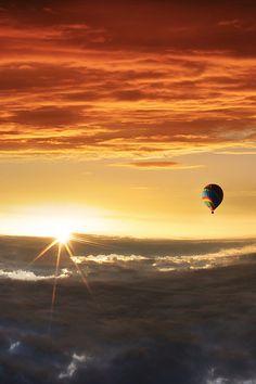 // For premium canvas prints & posters check us out at www.palaceprints.com Balloon Rides, Hot Air Balloon, Air Ballon, Rund Um Den Globus, Surrealism Photography, Colour Photography, Conceptual Photography, Sun Moon, Beautiful Sunrise