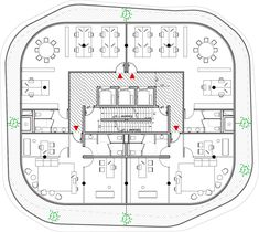 Typical upper floor plan of Walls of foliage will surround the towers of Gardens of Anfa by Maison Edouard Francois
