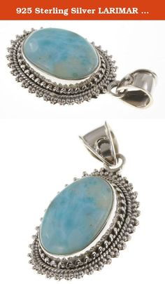 """925 Sterling Silver LARIMAR Pendant, 1.63"""". BeadsTreasury Product Description BeadsTreasury provides our customer with high quality handcrafted jewerly in affordable price. Most of our jewelry are handcrafted, thus every pieces of jewelry is UNIQUE. This 20MM LARIMAR gemstone is crafted in 925 Sterling Silver Pendant. Its weight is 7.20g. What is 925 Sterling Silver? 925 Sterling Silver jewelry is composed with 92.5 percent silver and 7.5 percent copper. It is found to be the good..."""