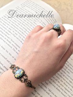 Victorian Vintage Blue Fire Opal Bracelet, Vintage Jewelry, Antique Bronze Glass Fire Opal Bracelet, Iridescent Bracelet, Opal Jewelry