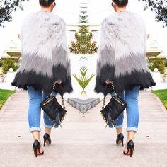 Saturday breeze wearing @unreal_fur coat, @casanovasitalianshoes @dissonahk bag and @zara_worldwide jeans #styledbyveronicamaree