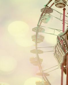 This is one of a series of dreamy pastel photographs of a carnival.  Might be cute as a trio on one nursery wall.