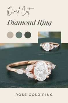1.30 CTW Oval Cut Moissanite Engagement Ring Rose Gold Marquise Shaped Diamond Ring Vintage Colorless Cluster Ring, Rose Gold Dainty Ring ✥ Description Of Ring :- ✥ Center Stone Details :- • Moissanite Details :- • Center Stone Shape : Oval Cut • Center Stone Weight : 0.88 CT • Center Stone Measurement : 6.00*8.00 MM • Center Stone Color : White • Mohs Scale : Moissanite 9.25 • Refractive Index : 2.65 (Moissanite) ✥ Side Stone Moissanite Details :- • Moissanite Details :-