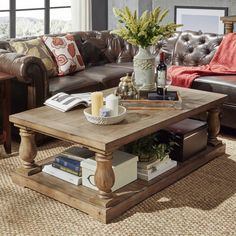 INSPIRE Q Edmaire Rustic Baluster Weathered Pine 55-inch Coffee Table