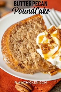 Butter Pecan Pound Cake – only 5 ingredients! Cake with a can of frosting in the batter. Butter Pecan Cake, Coconut Pecan Frosting, Buckwheat Cake, Thanksgiving Cakes, Zucchini Cake, Pecan Recipes, Pound Cake Recipes, Pound Cakes, Salty Cake