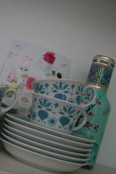 Arabia, retikka turkoosi Savi, Finland, Porcelain, Ceramics, Retro, Tableware, Kitchen, Design, Products