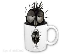 StrangeStore Owls! - How to look after your Owl - No. 1 - Owls and coffee  - Whilst it is acceptable to put an owl on your coffee mug, it is not generallyrecommendedthat you put an owl in your coffee mug.  #owls #strangestore #HowToLookAfterYourOwl ©paul stickland  Owls here http://www.zazzle.com/strangestore/owls?qs=owls&GroupProducts=False&pg=1&sd=desc&st=date_created&rf=238175107415881712&tc=pin