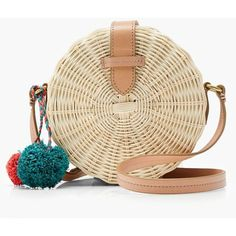 J.Crew Circle Straw Crossbody Bag (€100) ❤ liked on Polyvore featuring bags, handbags, shoulder bags, straw crossbody handbag, crossbody purses, straw handbags, brown handbags and brown crossbody purse