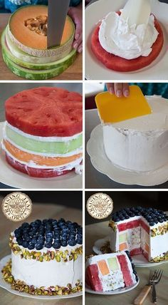 """Who would guess that this """"cake"""" has honeydew, canteloupe and watermelon inside? Yum! 30 Surprise-Inside Cake and Treat Ideas!!"""