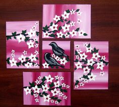pink painting with 2 birds pink wall art gifts for by SheerJoy