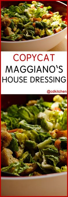 """Copycat Maggiano's House Salad Dressing - Maggiano's Little Italy is a nationwide Italian restaurant chain. Serve this dressing on your favorite salad greens, or on a """"chopped"""" salad like Maggiano's with romaine lettuce, crisp-fried prosciutto, tomatoes, Italian Dressing Recipes, Salad Dressing Recipes, Italian Recipes, Pasta House Salad Dressing Recipe, Italian Dressing Recipe Red Wine Vinegar, Italian Salad Dressings, Pasta Salad, Italian Chopped Salad, Gourmet"""