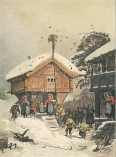 A Norwegian Christmas, 1846 painting by Adolph... ~~~ a writing by Dave~~~~